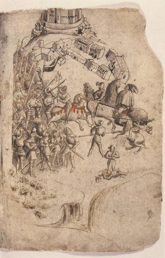 Bataille de Bannockburn (extrait du Scotichronicon, manuscrit de Walter Bower, 1440)