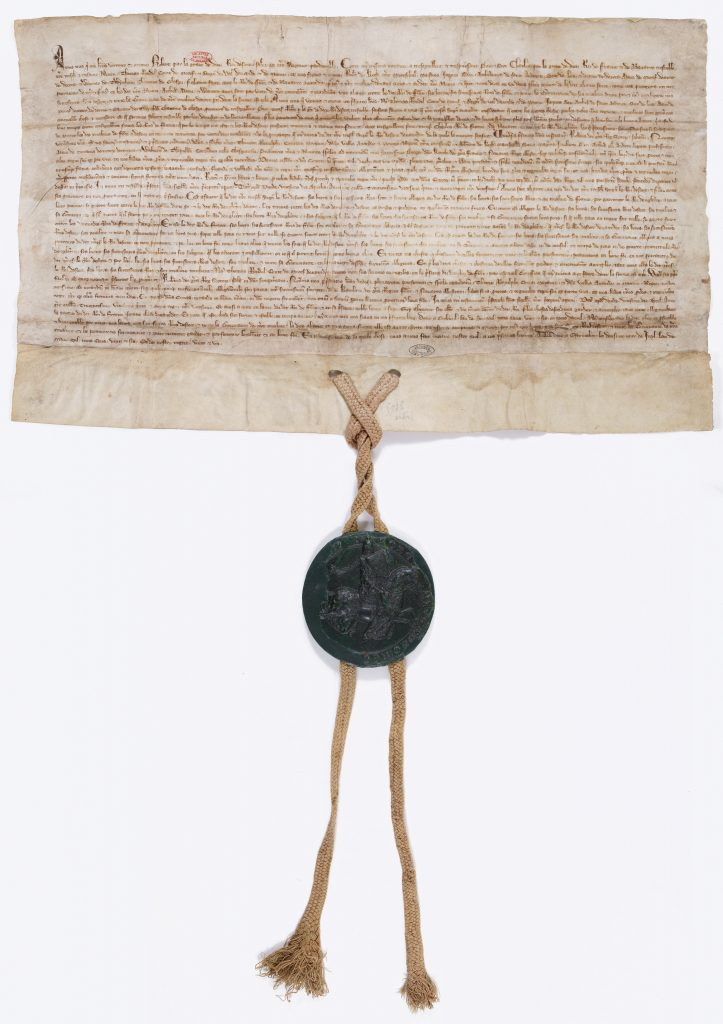 Traité d'alliance entre la France et l'Écosse signé en 1326 par Robert the Bruce (cote J//677/6)