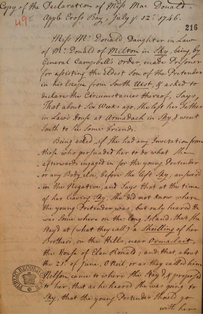 Témoignage de Flora MacDonald - juillet 1746 - page 1