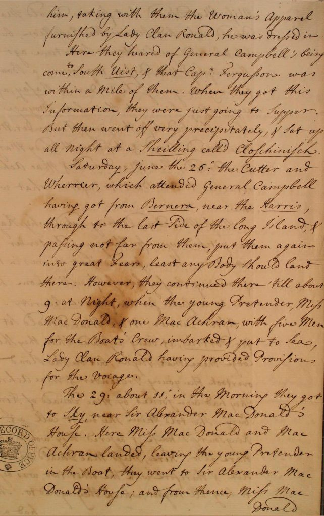 Témoignage de Flora MacDonald - juillet 1746 - page 3
