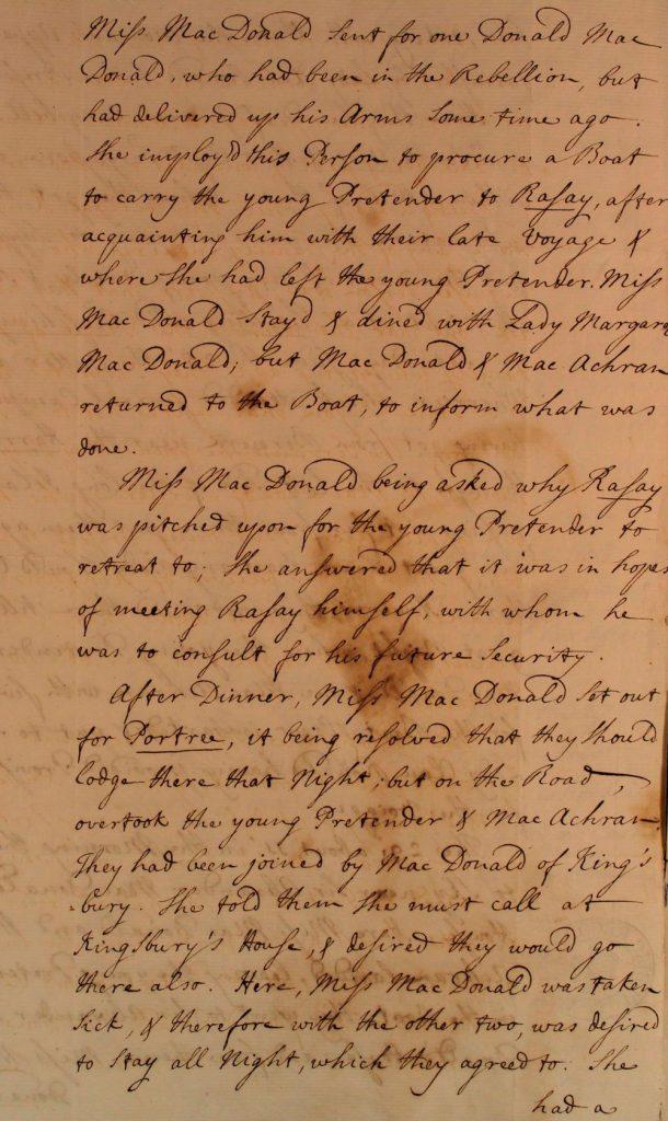 Témoignage de Flora MacDonald - juillet 1746 - page 4
