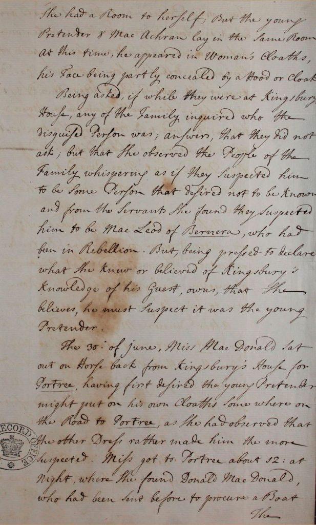 Témoignage de Flora MacDonald - juillet 1746 - page 5
