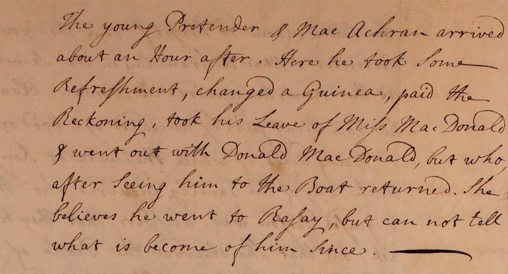 Témoignage de Flora MacDonald - juillet 1746 - page 6