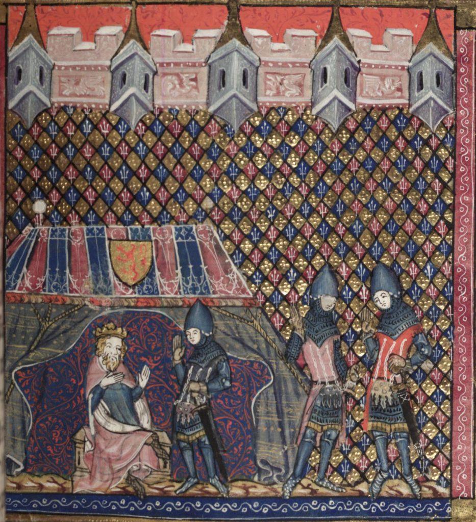 Miniature représentant Robert the Bruce en campagne, dans la romance d'Alexandre, auteur inconnu, 1338-1344